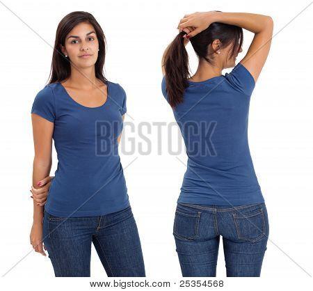 Female Wearing Blank Blue Shirt