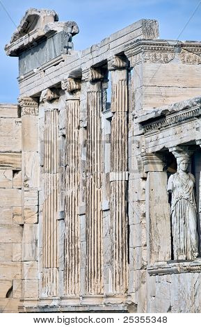 Facade Of Erechtheum Temple On Acropolis In Athens