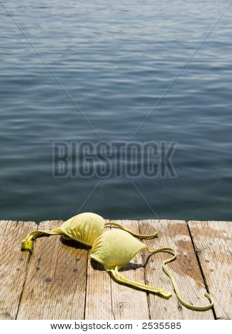 Bikini top on wooden dock