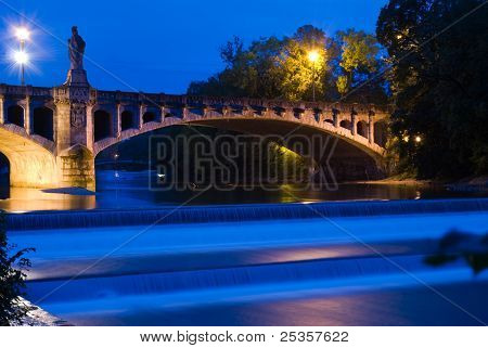 Isar River In Munich At Night