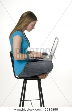 Teen Using Laptop