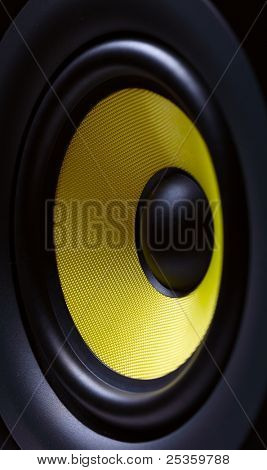 Sound system with yellow subwoofer