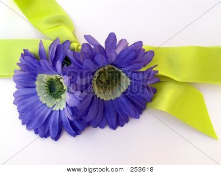 Gift With Blue Flowers And Ribbon