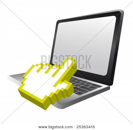 laptop and cursor