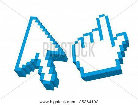 3D cursor de flecha y de la mano