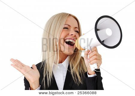 businesswoman with megaphone studio isolated