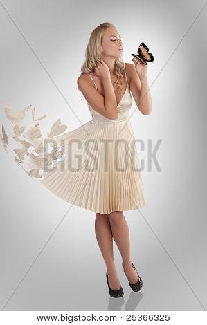 Beautiful Girl In Butterfly Dress