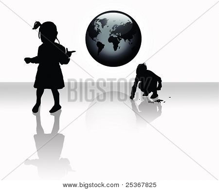 w&b illustration of two kids playing and a globe on white background