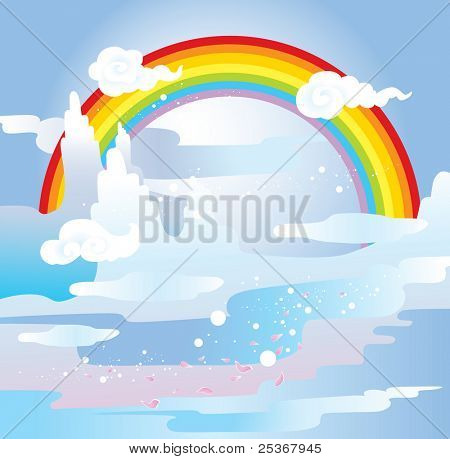 japanese style inspired vector illustration of mountain spring scene with rainbow
