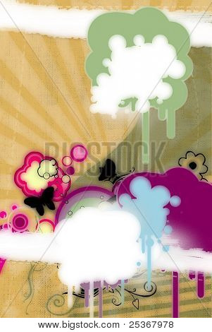 grunge blots and butterflies on retro background