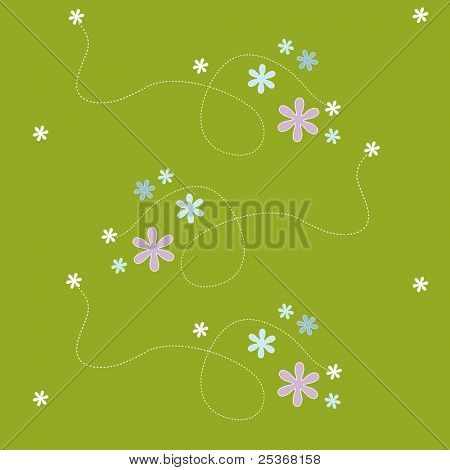seamless pattern vector backdrop with flowers on green