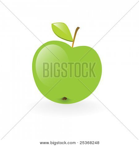fresh green apple health symbol vector illustration isolated on white background