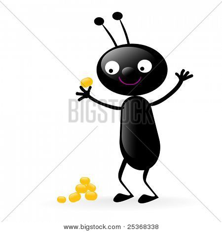 little smiling bug holding a piece of food vector illustration isolated on white