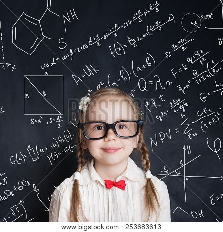 Little Genius  Smart Little Girl Math Student On School Blackboard  Background With Hand Drawings Sci poster