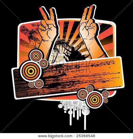 Sommer Party T-shirt Grunge-Design mit Händen mit Peace-Zeichen und Label für Ihren Text. Vektor-il