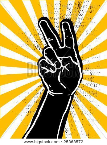 black hand showing victory or peace sign grunge textured vector illustration