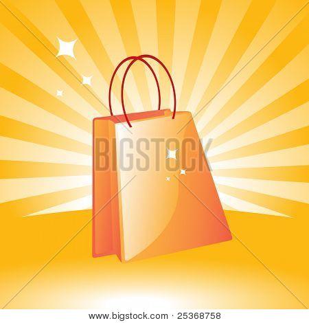 vector illustration orange shopping bag on retro background