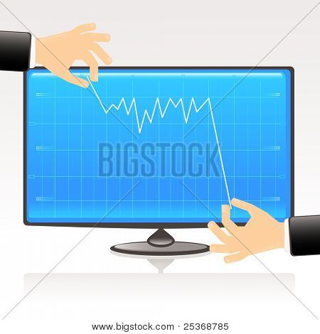 Debt conflict- conceptual vector illustration. Business graph showing financial report on computer display
