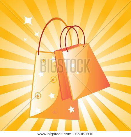 vector illustration of two fancy shopping bags  on retro background
