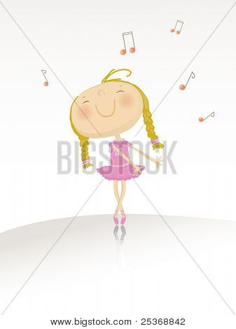 vector illustration of a little happy ballerina girl dancing on music. See the entire ballerina collection in my portfolio.
