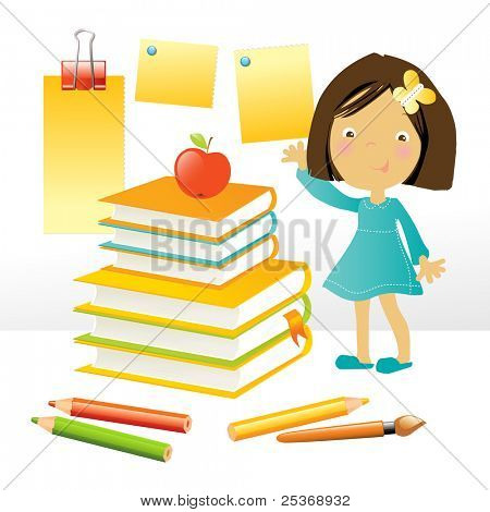 vector illustration of a happy little girl standing by a stack of books and school supplies, on white background