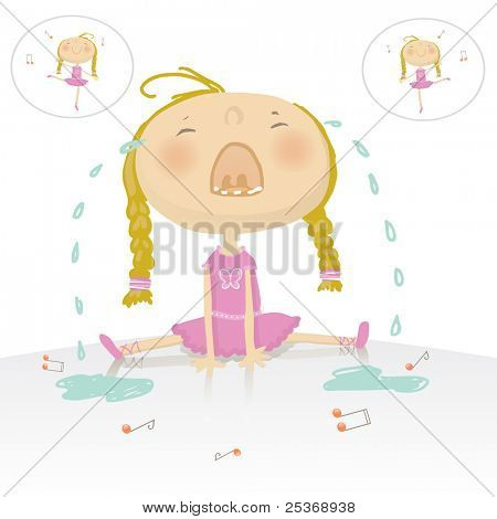 ups! little ballerina girl is crying. She felled on the dancing floor. See the entire ballerina collection in my portfolio.