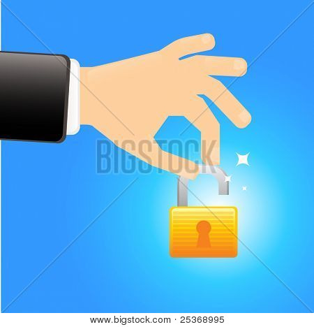 Safety first- hand holding a unlocked lock vector illustration isolated on blue background. Security concept.
