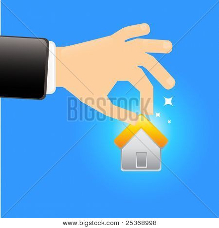 hand holding a house vector illustration isolated on blue background