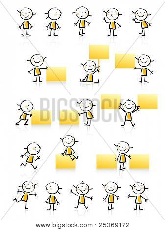 kids drawing style educational icon set. Cute girl character series, grouped and layered for easy editing. See similar in my portfolio