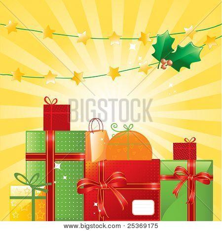 Weihnachtsgeschenke und Ornamente auf glänzendem Hintergrund, Vektor-illustration
