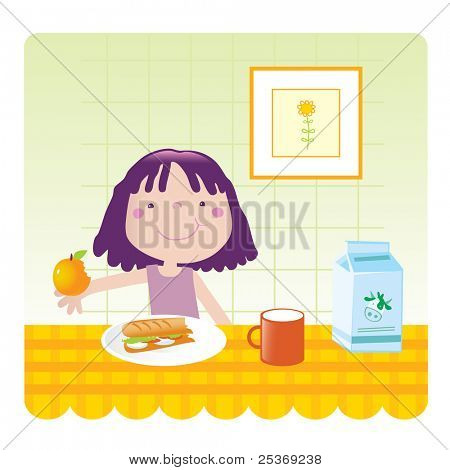 cute little girl eating breakfast in the kitchen, vector illustration. Educational series- see more in my portfolio