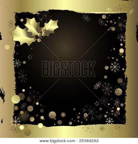 golden snowflakes and border for christmas greeting card, vector illustration
