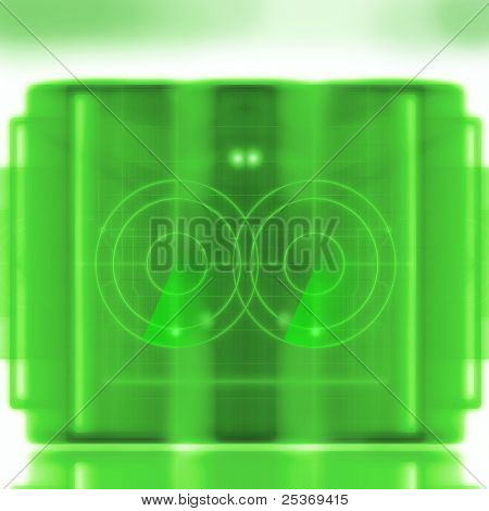 abstract illustration, science research targeted,  green radar computer display