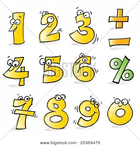 vector cartoon funny numbers, hand-drawing style, grouped and layered for easy editing
