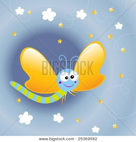 cartoon butterfly in the night, vector wallpaper for kids
