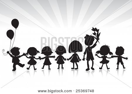 kids silhouettes, white and black
