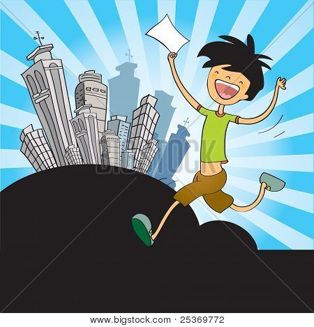 success, very happy young man with blank note over cityscape. Vector illustration