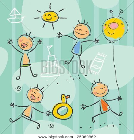 Cute kids playing on the beach, seamless pattern series. Children drawing style vector, grouped and layered for easy editing.