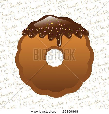 Chocolate dipped cookie with chocolate syrup drips isolated on