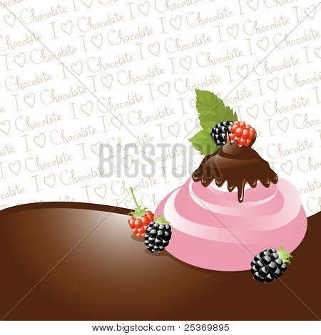 "Chocolate dipped raspberries/ blackberry on ice-cream, border and ""I love chocolate"" wallpaper, vector illustration series. See other fruits in my portfolio"