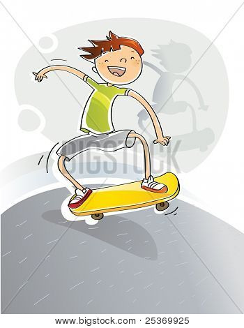 kid happy with his skateboard, cartoons vector illustration