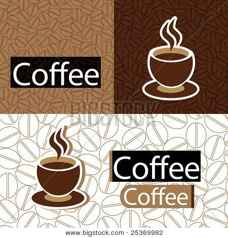 coffee beans seamless pattern wallpaper and cup of coffee design, vector illustration