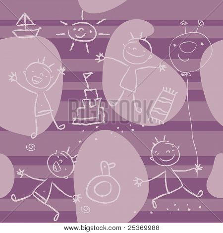 Cute kids playing on the beach, seamless pattern wallpaper series. Children drawing vector, grouped and layered for easy editing.