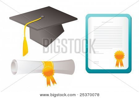 graduating vector elements isolated on white, school theme