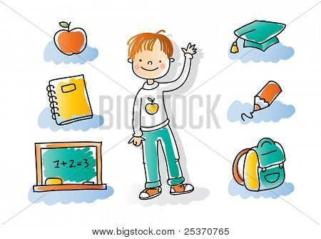 back to school boy with school icon set, watercolor style colored, grouped and layered for easy editing