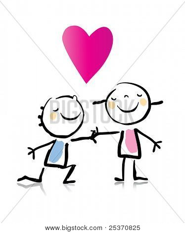 Día de San Valentín romántico muchacho arrodillarse delante de su novia, st dibujo infantil de dibujos animados