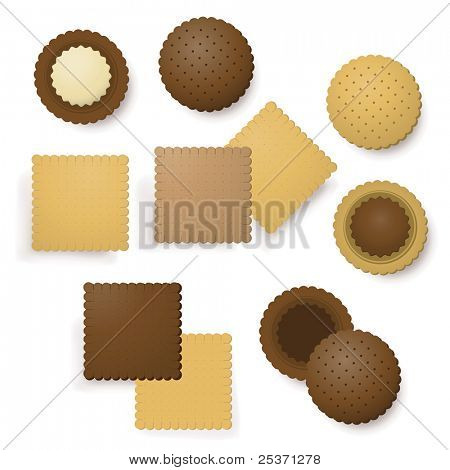 delicious biscuits dessert mix, chocolate and vanilla cream filling