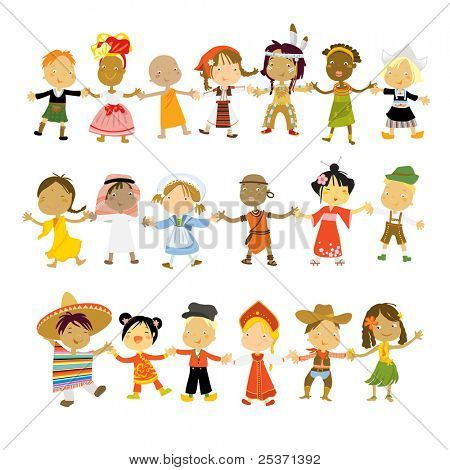 kids multicultural traditional costumes