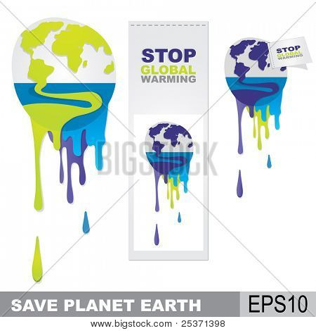 melting earth, global warming concept