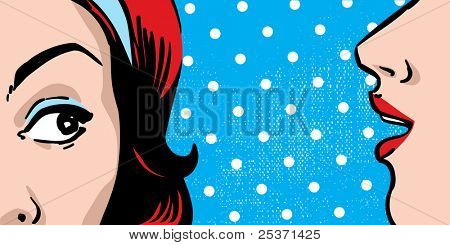 woman gossip, polka dots retro background